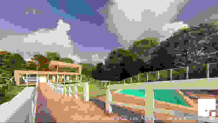 Vista Norte de la Cabaña 02 Piscinas de estilo moderno de Territorio Arquitectura y Construccion - La Serena Moderno