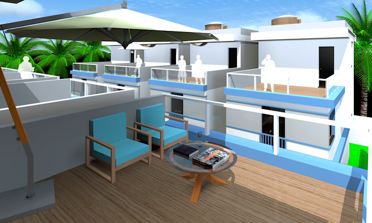 بلكونة أو شرفة تنفيذ ARQ-PB Arquitetura e Construção, حداثي سليت