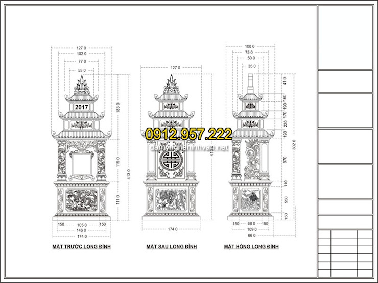 Bản vẽ thiết kế mộ đẹp chuẩn phong thủy bởi CÔNG TY TNHH ĐÁ MỸ NGHỆ NINH BÌNH