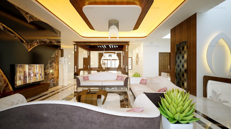 Salas de estilo moderno de Monnaie Interiors Pvt Ltd Moderno Madera Acabado en madera