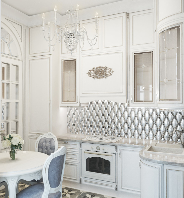 Квартира на Садовой, г. Москва lesadesign Маленькие кухни Керамика Белый