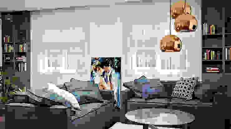 Дизайн проект в сучасному стилі м. Чернігів (117 кв. м):  Вітальня by Artlike,