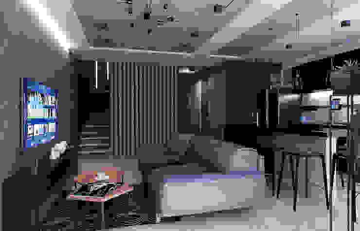 Дизайн дворівневої квартири в стилі Лофт в м. Київ (81 кв. м) Artlike Вітальня