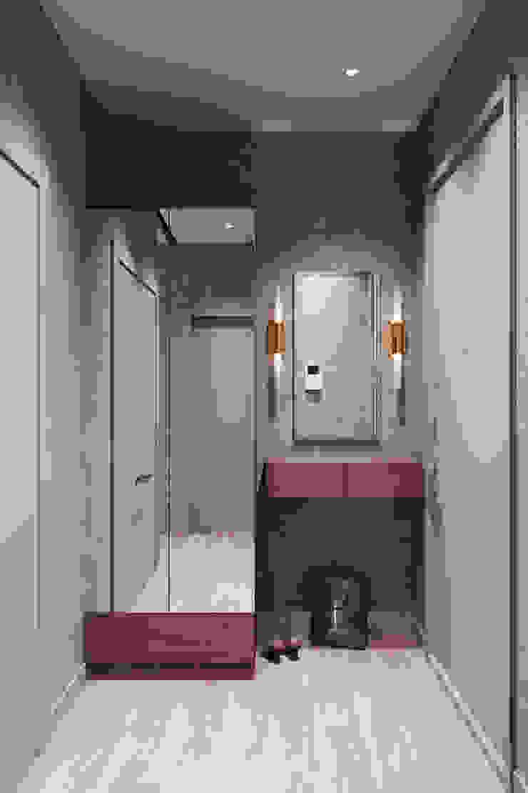 Couloir, entrée, escaliers minimalistes par Студия архитектуры и дизайна Дарьи Ельниковой Minimaliste
