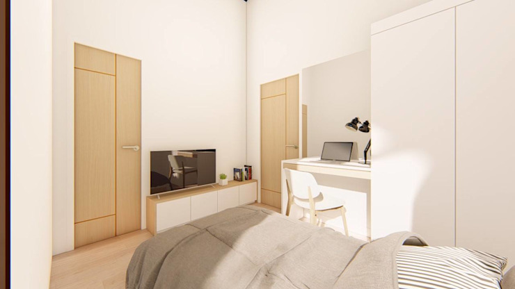 2-Storey Scandinavian-Inspired Residence Structura Architects BedroomBeds & headboards White