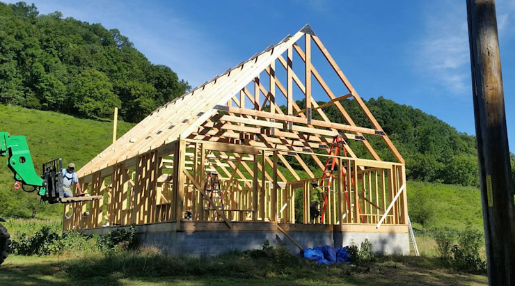 Timber frame home in Grant, California. Structural design by S3DA Design Classic