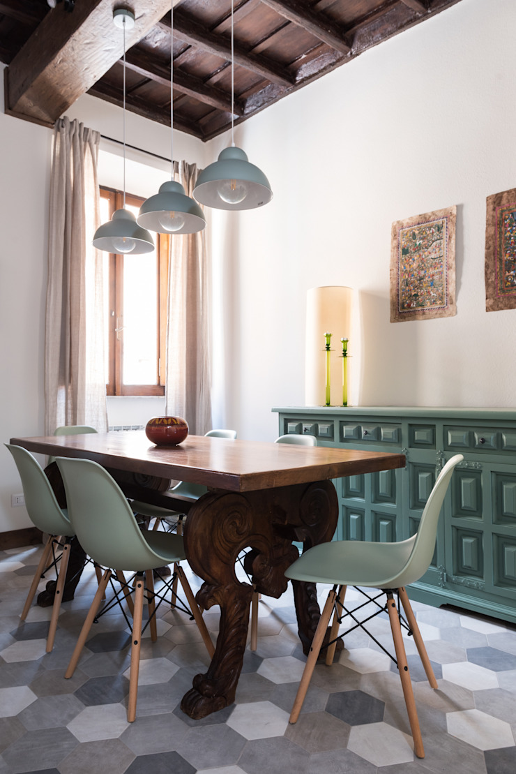 Caterina Raddi Eclectic style dining room Green