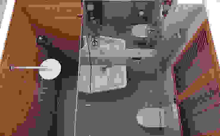 Санузел совмещенный с душем Ванная комната в стиле минимализм от ekovaleva.prodesign Минимализм