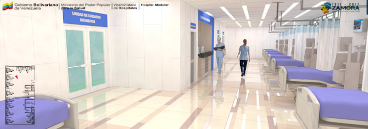 HALL DE LA UNIDAD DE CUIDADOS INTENSIVOS Pasillos, vestíbulos y escaleras modernos de LAC ARQUITECTURA HOSPITALARIA Moderno