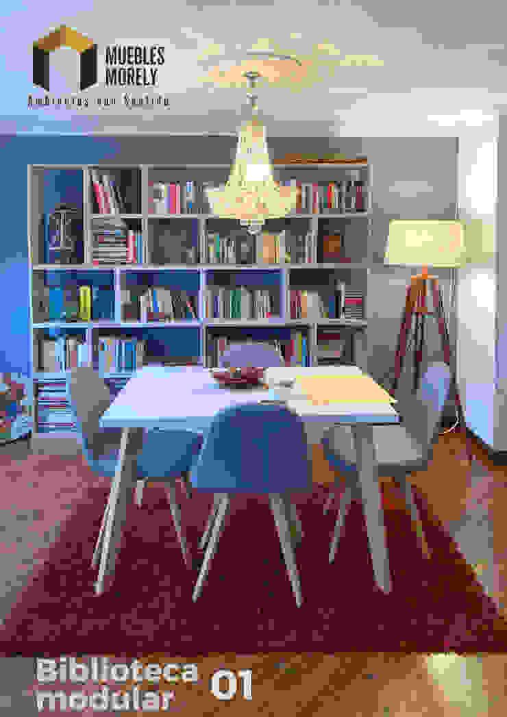 Biblioteca en madera de Carpintería Muebles Morely Moderno Tablero DM