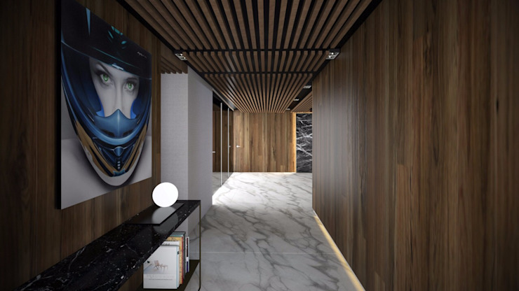 Modern Corridor, Hallway and Staircase by FM ARQUITECTOS Modern Marble