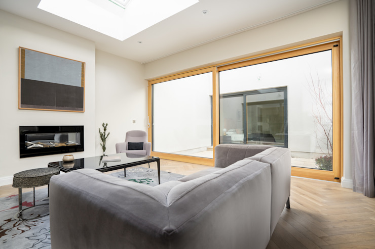Living Room Sliding Patio Door Marvin Windows and Doors UK Ruang Keluarga Modern Kayu Grey