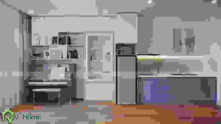 Thiết kế nội thất căn hộ chung cư Green Bay, Mễ Trì – Mr.Linh: hiện đại  by Công ty CP tư vấn thiết kế và xây dựng V-Home, Hiện đại