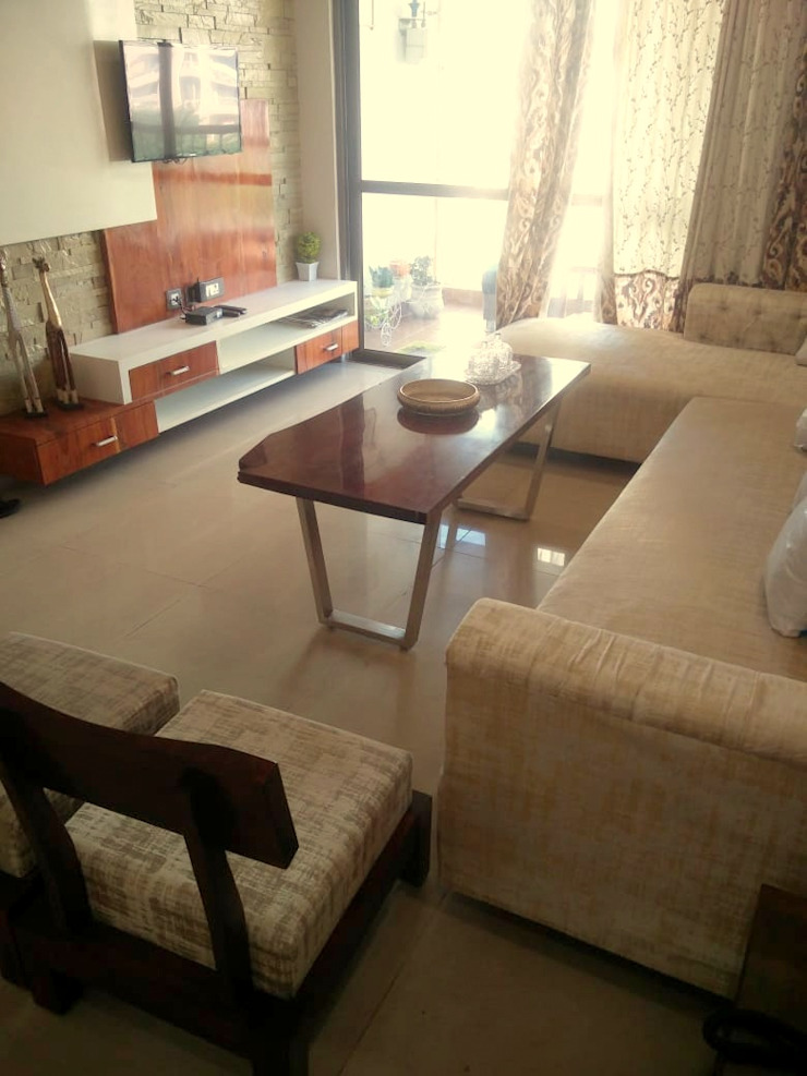 Tv unit in living hall Shape Interiors Living room Wood effect