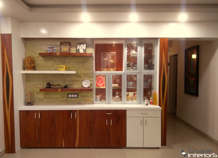 Crockery unit with storage and display unit in living hall Shape Interiors Asian style dining room Wood White