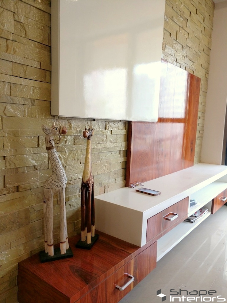 Stone cladding wall Shape Interiors Living room Stone Wood effect
