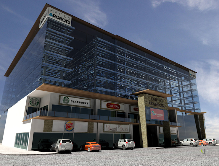 Vista desde la zona textil Centros comerciales de estilo industrial de Helicoide Estudio de Arquitectura Industrial