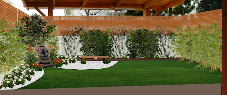 PROPUESTA DE DISEÑO- RENDER - IMAGEN FOTORREALISTA Jardines de estilo minimalista de HZ ARQUITECTOS SANTIAGO DISEÑO COCINAS JARDINES PAISAJISMO REMODELACIONES OBRA Minimalista