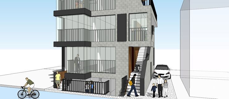 연남동 상가주택(2016): 믹스토리의 현대 ,모던