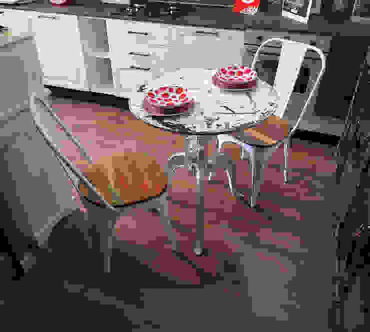 Tavolo rotondo bianco in ferro: Soggiorno in stile  di nuovimondi di Flli Unia snc, Industrial