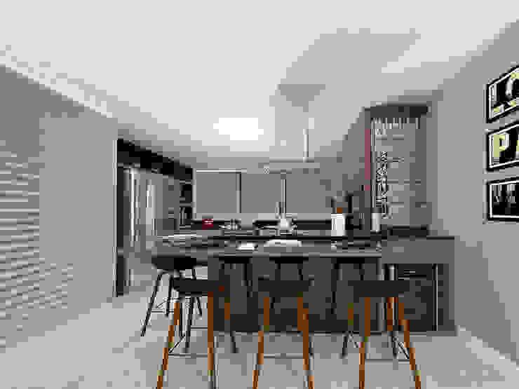Área Gourmet: Cozinhas  por Projeto 3D Online,Moderno