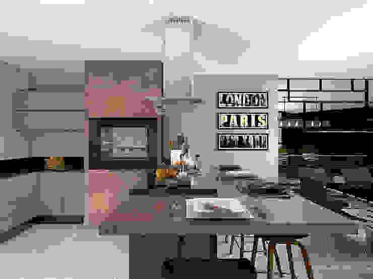 Área Gourmet: Armários e bancadas de cozinha  por Projeto 3D Online,Moderno Madeira Efeito de madeira