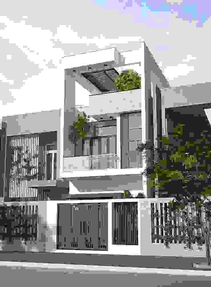 Các mẫu mặt tiền nhà phố đẹp 4m hiện đại bởi Công ty cổ phần tư vấn kiến trúc xây dựng Nam Long