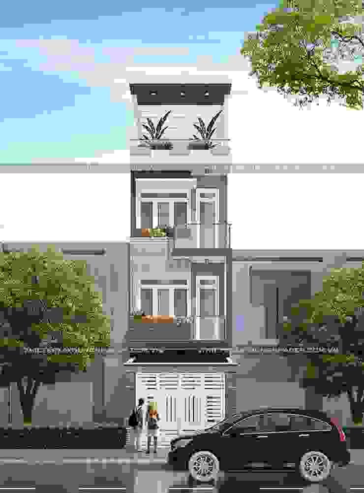 Mặt tiền nhà ống 4 tầng đẹp bởi Công ty cổ phần tư vấn kiến trúc xây dựng Nam Long