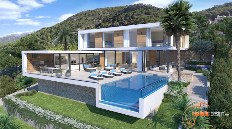 Render 3D - House view de Realistic-design Moderno