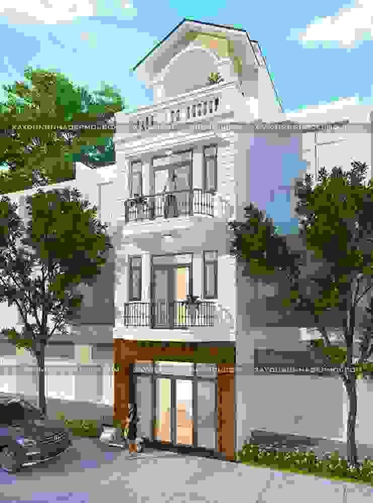 Thiết kế nhà ống 4 tầng 50m2 mái thái đẹp bởi Công ty xây dựng nhà đẹp mới