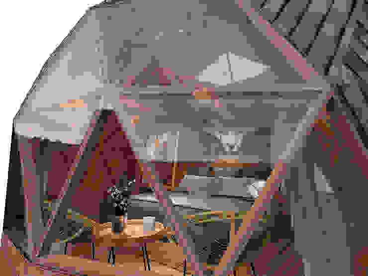 Phối cảnh nội thất bungalow dome nhìn từ bên ngoài bởi Công ty TNHH Ông Kien