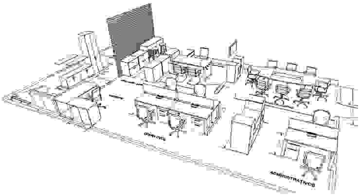 Isométricos Estudios y despachos modernos de GREAT+MINI Moderno Compuestos de madera y plástico