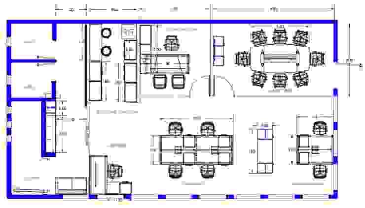 Planos del Proyecto Estudios y despachos modernos de GREAT+MINI Moderno Compuestos de madera y plástico