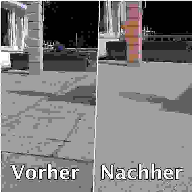 Steinteppich Terrasse aus Marmor Vorher-Nachher Mediterraner Balkon, Veranda & Terrasse von Steinteppich der Balkon & Terrassenbelag deutschlandweit Mediterran Marmor