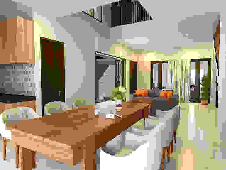ruang makan lega KuntArch Studio Ruang Makan Minimalis Granit White