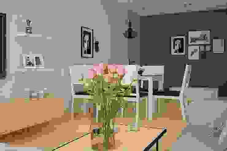 Bộ bàn ăn hiện đại màu trắng đen nổi bật bởi NỘI THẤT XINH