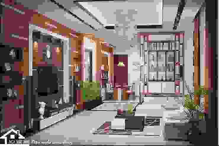 Không gian phòng khách tầng 1 sang trọng bởi NỘI THẤT XINH