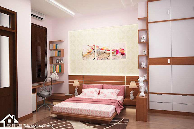 Phòng ngủ Master trong nhà phố bởi NỘI THẤT XINH