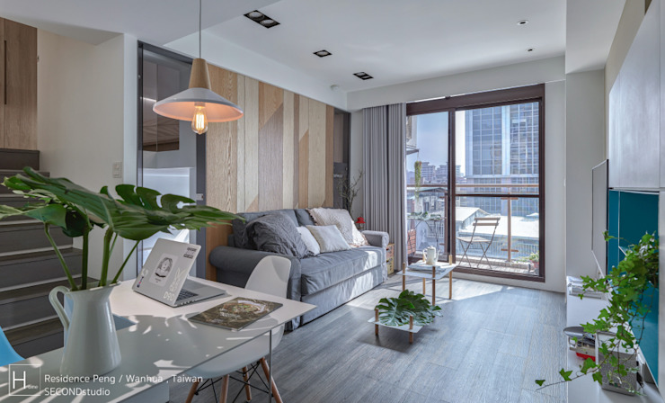 客廳與廚房連結 现代客厅設計點子、靈感 & 圖片 根據 SECONDstudio 現代風