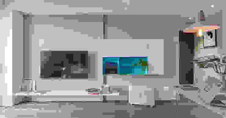乾淨簡單的電視牆櫃: 現代  by SECONDstudio, 現代風