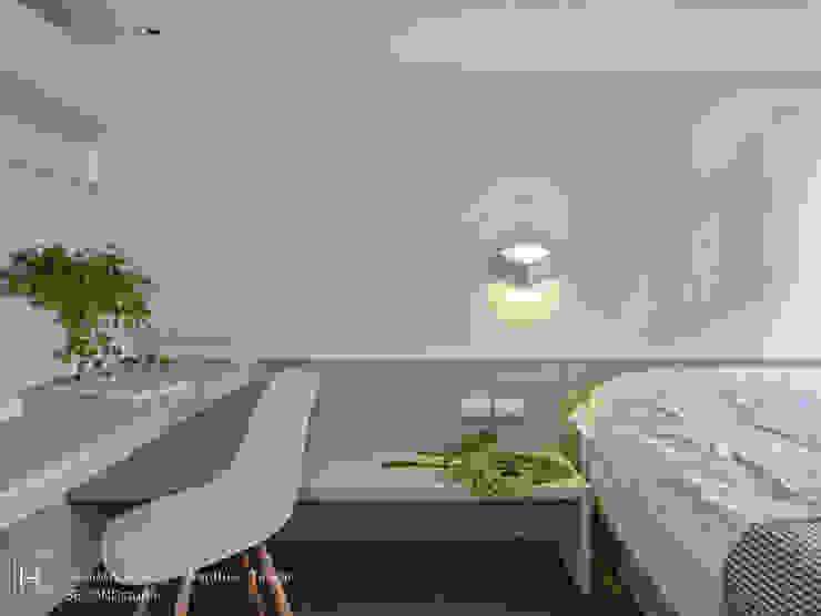 木頭層板搭製的書桌讓屋主也能在臥室內辦公 根據 SECONDstudio 現代風