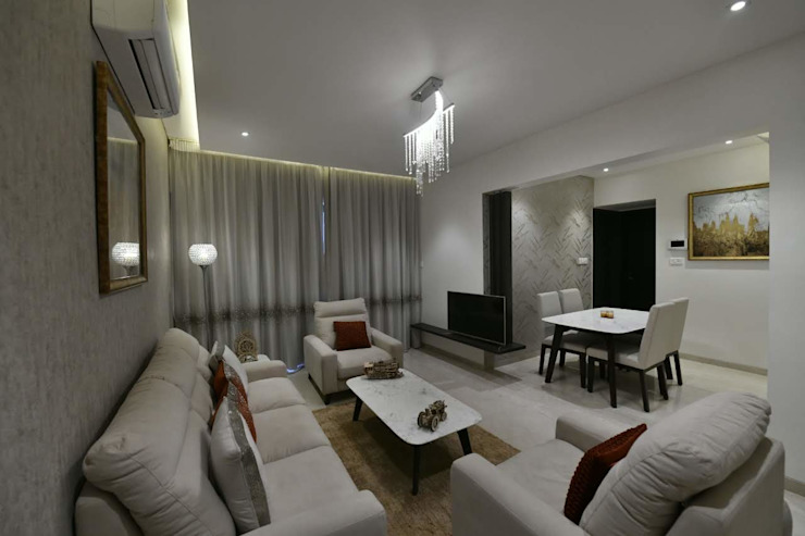 2bhk Sample flat,Mundhwa,Kp Annexe:  Living room by Ground 11 Architects,
