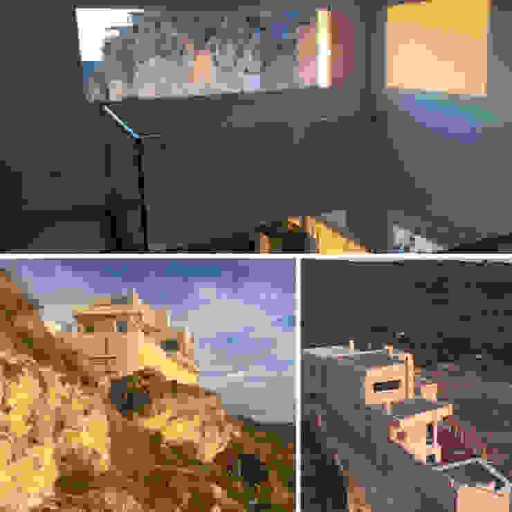 Vivienda r´ústica con piscina sobre  montaña en Cuenca - Collage: Casas pequeñas de estilo  de Arte y Vida Arquitectura, Rústico