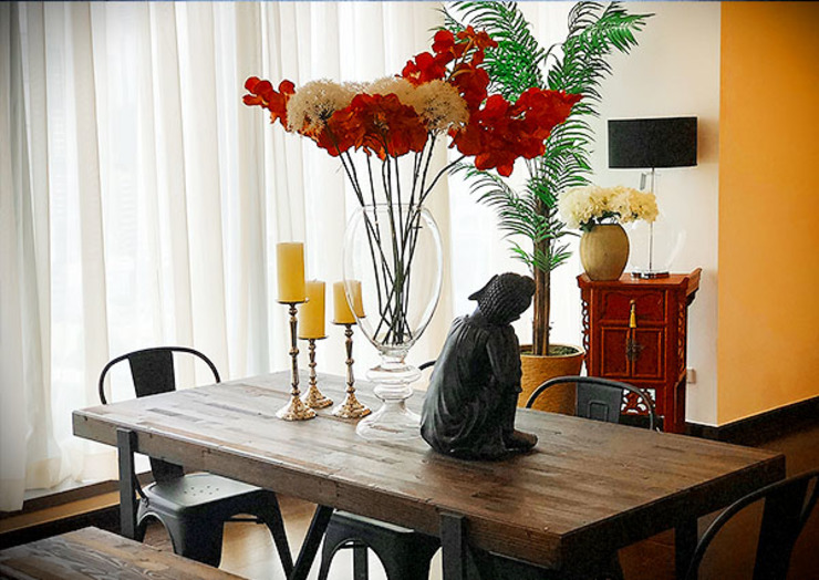 Sleek and Modern with Asian Style – Trump Tower Makati, Philippines Asian style dining room by SNS Lush Designs and Home Decor Consultancy Asian