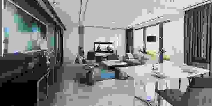 Vista interior Estar y comedor: Comedores de estilo  por CR.3D Modeling & Rendering,