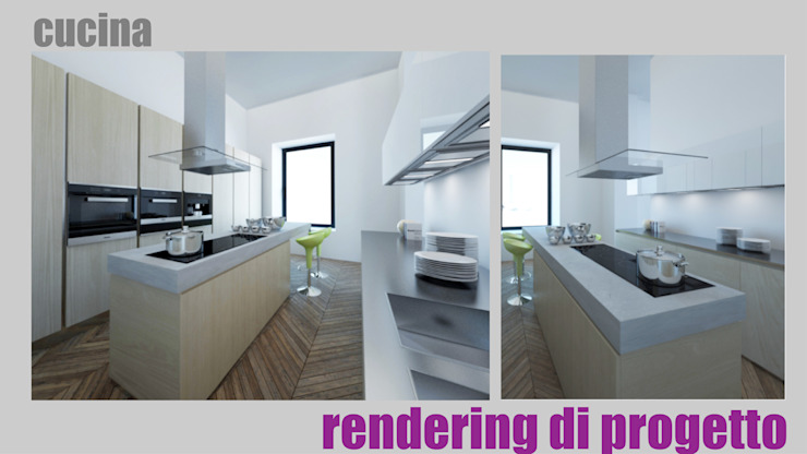 Cucina - render: Cucina in stile  di officinaleonardo, Moderno