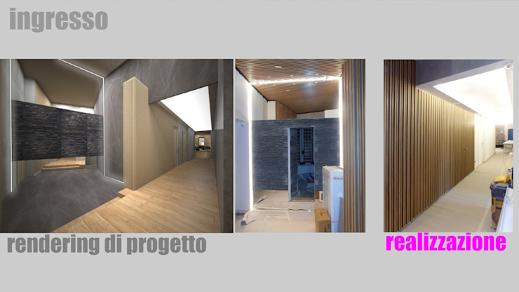 Ingresso - rendering e realizzazione: Ingresso & Corridoio in stile  di officinaleonardo, Moderno