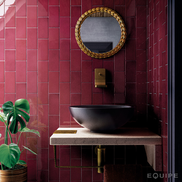 Equipe Ceramicas Mediterranean style bathrooms Tiles Purple/Violet