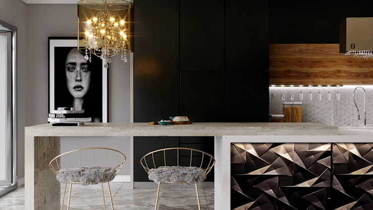 open kitchen Swan Studio مطبخ Black