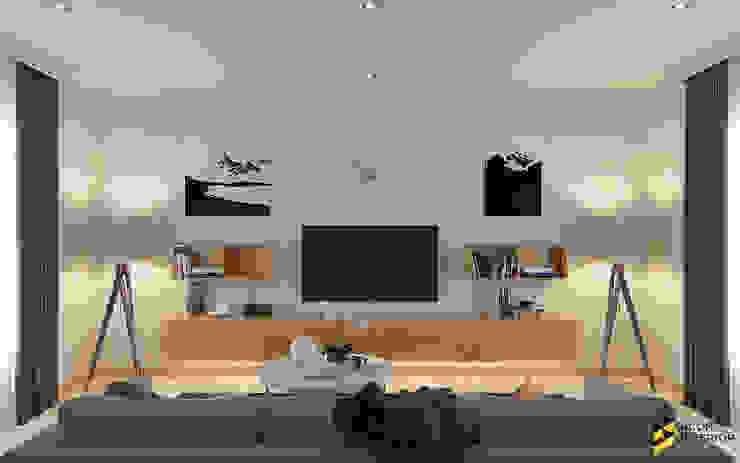 ออกแบบตกแต่งห้องนั่งเล่น: ที่เรียบง่าย  โดย Bcon Interior, มินิมัล